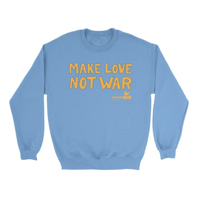 Woodstock Bright Colored Sweatshirt | Make Love Not War Distressed Woodstock Sweatshirt