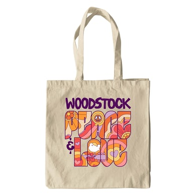 Woodstock Canvas Tote Bag | Peace And Love Groovy Design Woodstock Bag