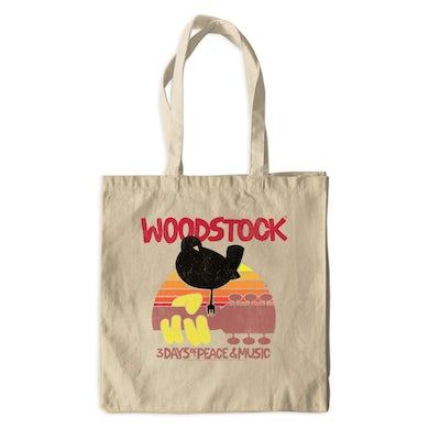 Woodstock Canvas Tote Bag | Bird And Guitar Woodstock Sunset Woodstock Bag