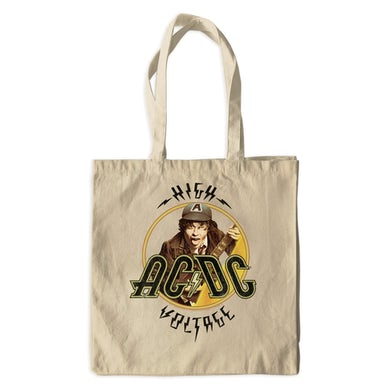 AC/DC Canvas Tote Bag | High Voltage Album Design Distressed ACDC Bag