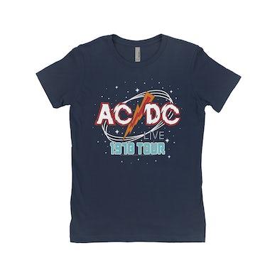 AC/DC Ladies' Boyfriend T-Shirt | Red Universe 1978 Tour Design ACDC Shirt