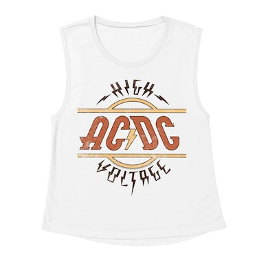 AC/DC Ladies' Muscle Tank Top | Retro Colored High Voltage Design Distressed ACDC Shirt