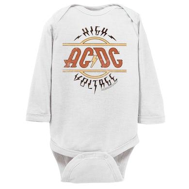 AC/DC Long Sleeve Onesie | Retro Colored High Voltage Design Distressed ACDC Onesie
