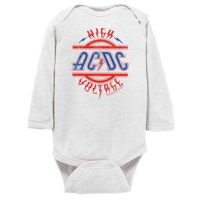 AC/DC Long Sleeve Onesie | Red and Blue High Voltage Distressed ACDC Onesie