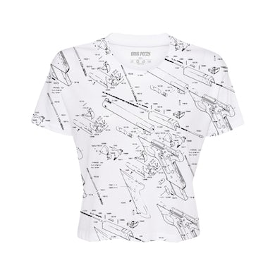 OMB Peezy Cropped Schematic Tee in White