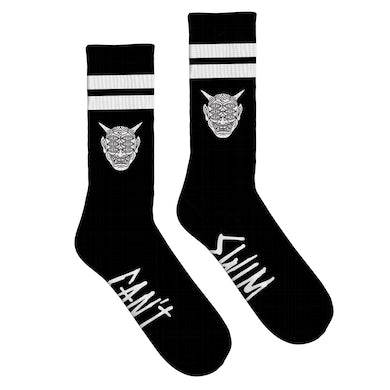 Can't Swim - Oni Striped Knit Socks - Black