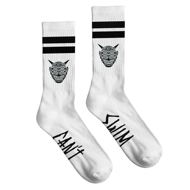 Can't Swim - Oni Striped Knit Socks - White