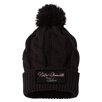 """""""HAPPINESS is...Christmas!"""" Black Patch Pom Beanie"""