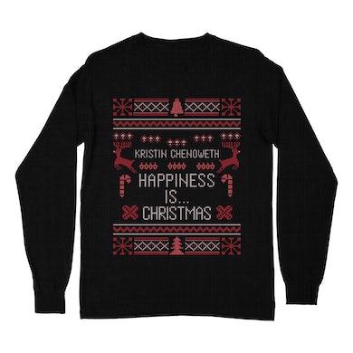 """""""Happiness is... Christmas!"""" Ugly Long Sleeve Tee"""