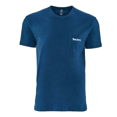 Steve Perry - Blue Embroidery Pocket T-Shirt