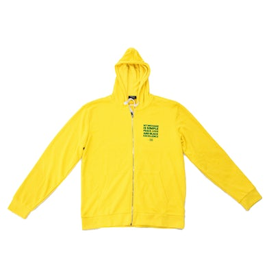"Yellow BB Quote Zip Hoodie ""MY MESSAGE IS SIMPLE"" Quote"