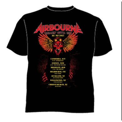 Airbourne Breaking Out Of Hell 2017 Black Tour Tshirt