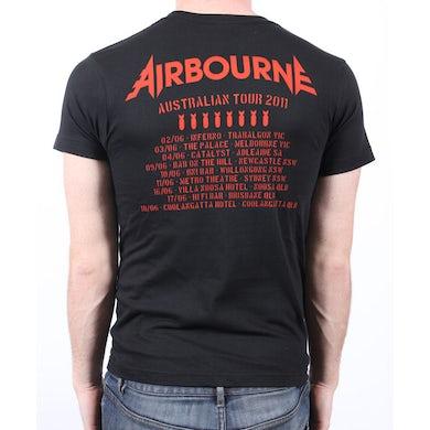 Airbourne Bomb Ride/Tour Dates Black Tshirt