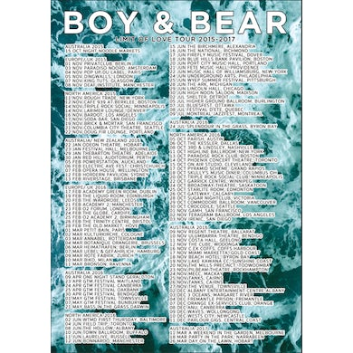 Boy & Bear Poster Limit Of Love Tour 2015-2017 (Limited to 100)