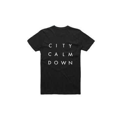 City Calm Down Straight Stack Black Tshirt (No Back Print)