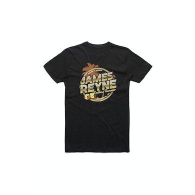 James Reyne Endless Summer Gold Palms Black Tshirt