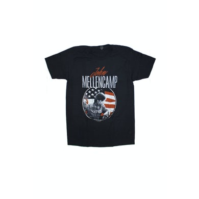 John Mellencamp Circle Flag Distressed Black Tshirt