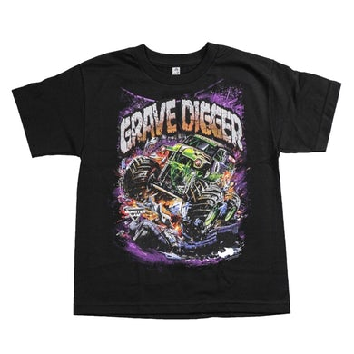 Monster Jam Grave Digger Attack Youth Black Tee