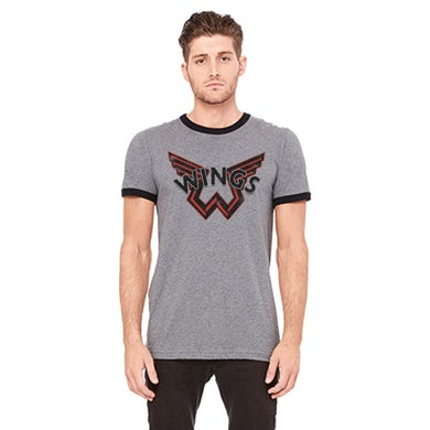 Paul McCartney Wings Dark Grey Ringer Tshirt One On One World Tour 2017