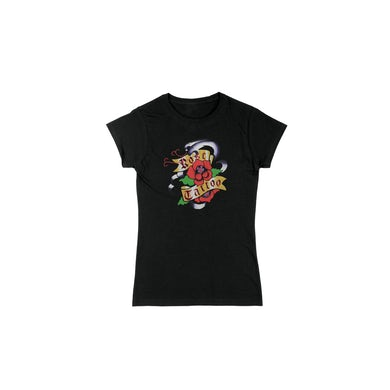 Rose Tattoo Purple Snakes/Roses Ladies Black Tee (No back print)