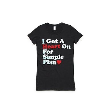 Simple Plan Heart On Black Tshirt