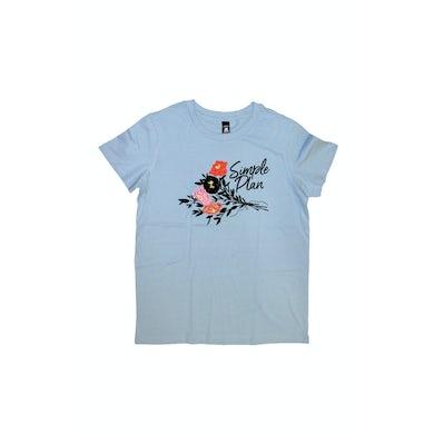 Simple Plan Flowers Light Blue Girls Tshirt