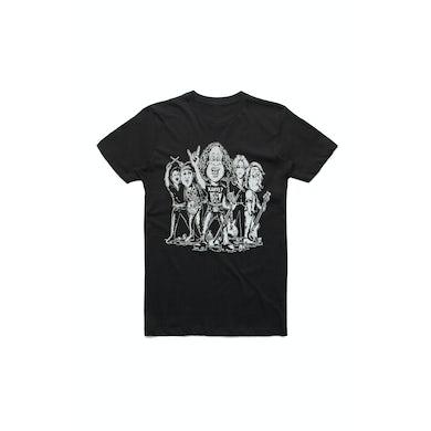 The Screaming Jets Caricature Portrait Black Tshirt w/dateback
