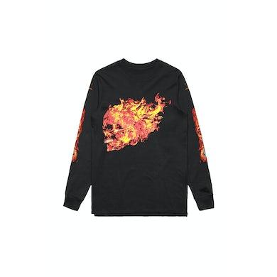 Flaming Skull Black Longsleeve Tshirt