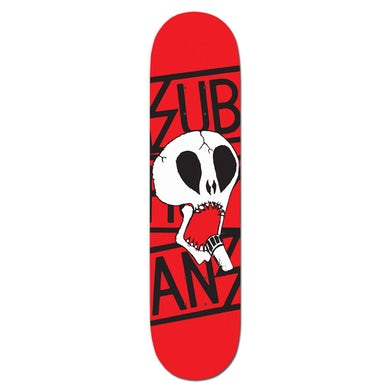 Skull & Black Logo on Red - Skateboard Deck