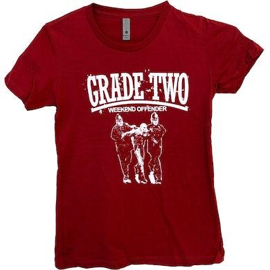 Grade 2 - Weekend Offender - Burgundy - Fitted T-Shirt