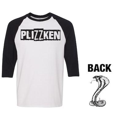 Plizzken - Logo - White & Black - Baseball Tee