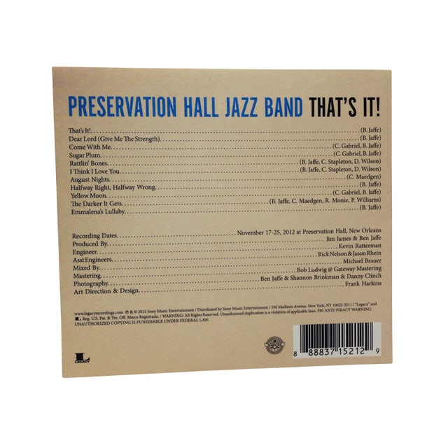 Preservation Hall Jazz Band That's It! CD