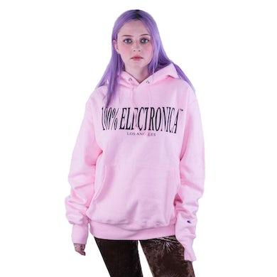 100% Electronica Champion® Pink Logo Hoodie - FW19/20