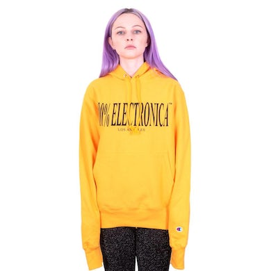 100% Electronica Champion® Logo Hoodie Gold - SS21