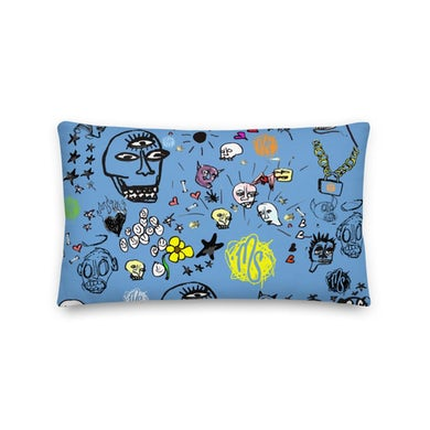 MOD SUN Art All Over Premium Blue Pillow