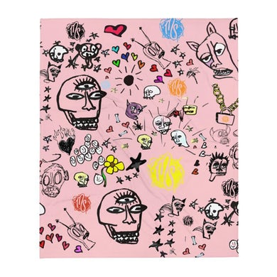 Art All Over Pink Throw Blanket