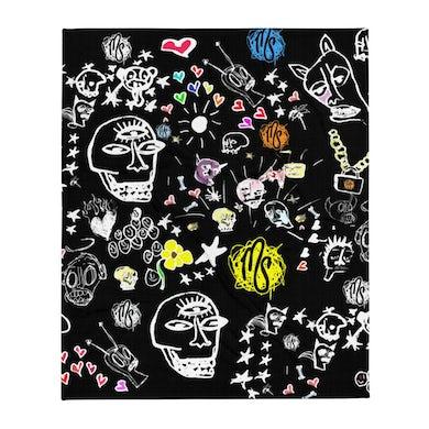Art All Over Black Throw Blanket