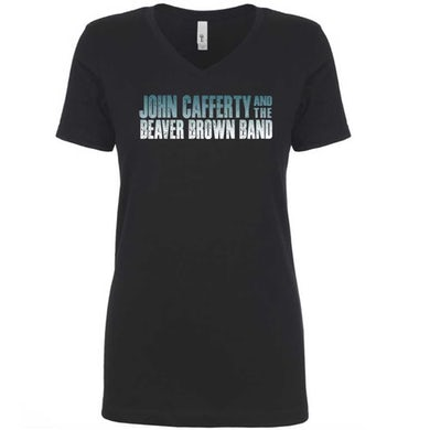 JOHN CAFFERTY Classic Logo Ladies Black V-Neck T-Shirt