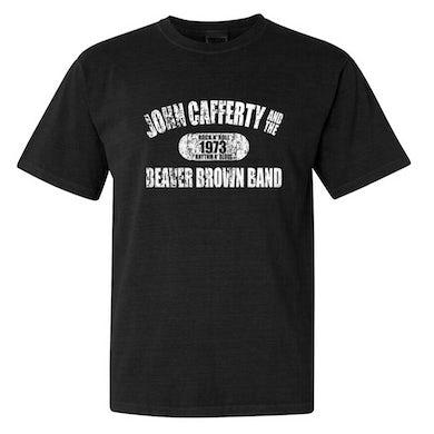 JOHN CAFFERTY Distressed White Logo T-Shirt