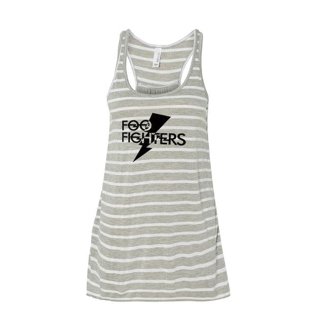 Foo Fighters Bolt Flowy Racerback Tank - Grey Stripe