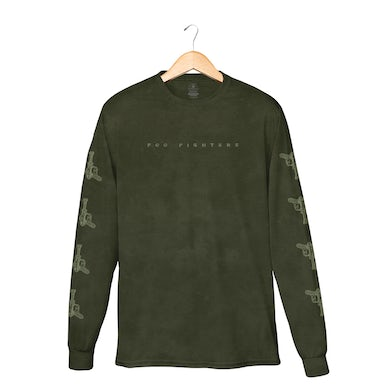Foo Fighters Self-Titled Military Green Crystal Wash Longsleeve