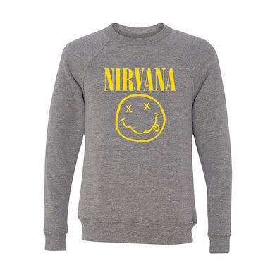 Nirvana Smiley Tri-Blend Crewneck Sweater