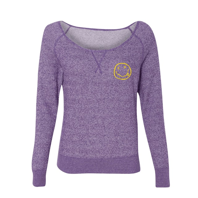 Nirvana Smiley Off The Shoulder Sweater (Purple)