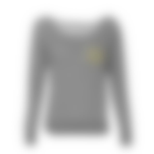 Nirvana Smiley Off The Shoulder Sweater (Heather Grey)
