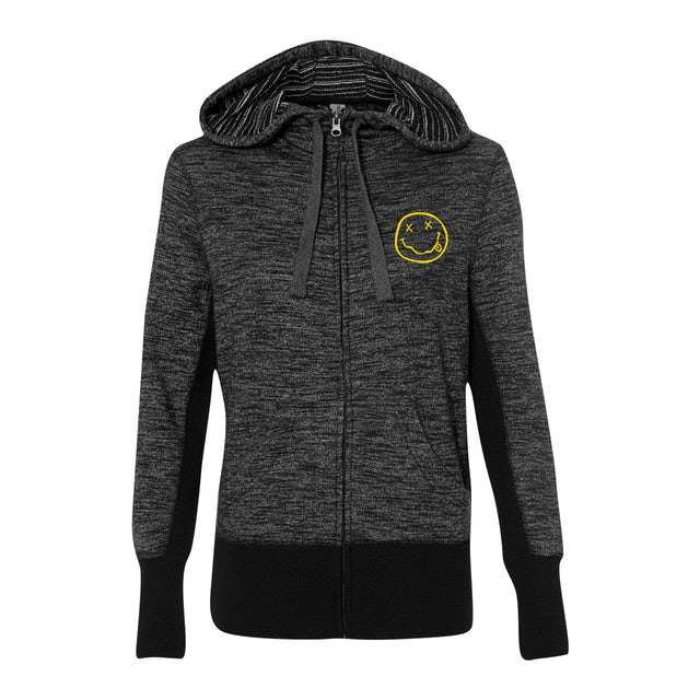 Nirvana Smiley Striped French Terry Zip Hoodie