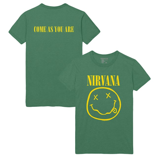 Nirvana Come As You Are Smiley Tee - Green