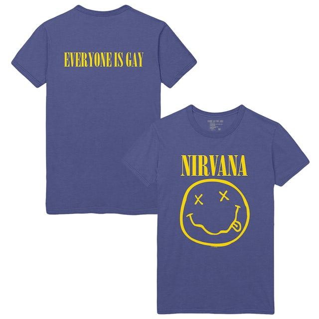 Nirvana Everyone Is Gay Smiley Tee - Denim