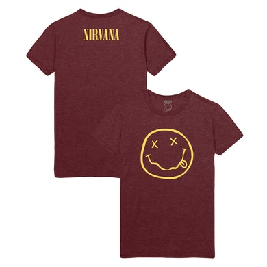 Nirvana Smiley Tee - Heather Burgandy