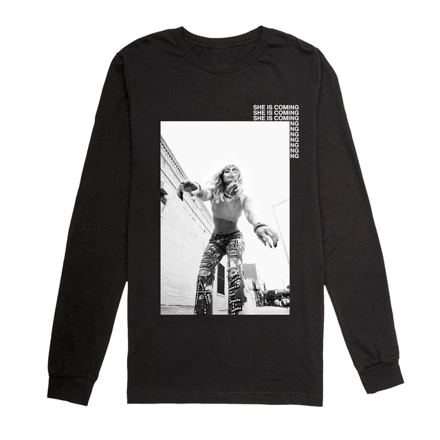 Miley Cyrus She Is Coming Long Sleeve Photo Tee Black
