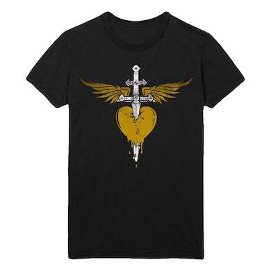 Bon Jovi Gold Heart & Dagger Tee